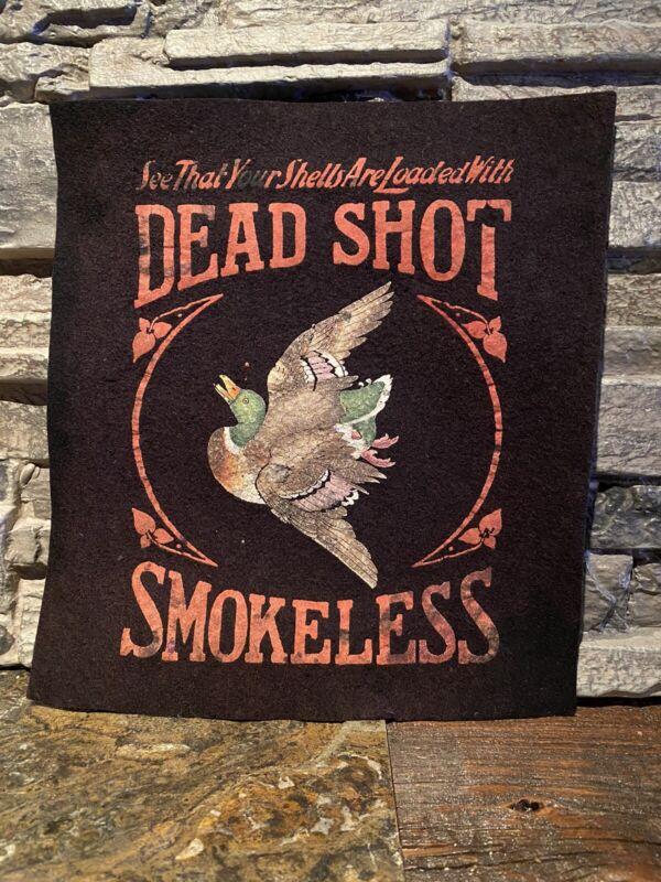 Dead Shot Powder Counter Felt Vintage Advertising Ammo Hunting Shot Shell Powder