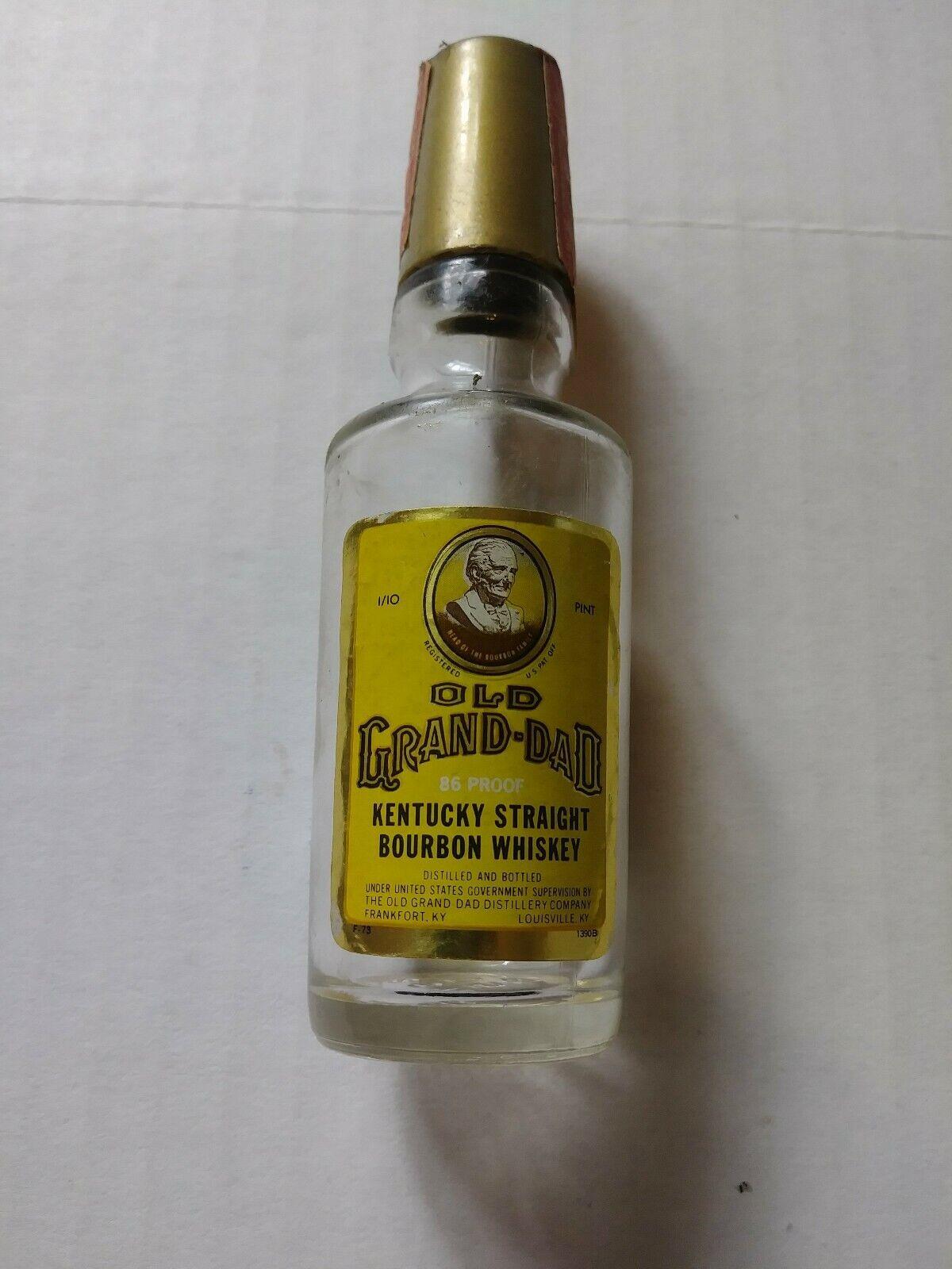 EMPTY Vintage Old Grand Dad Kentucky Bourbon Mini Miniature Bottle Tax Stamp
