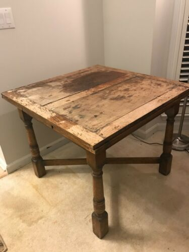 ANTIQUE PUB TABLE, DRAW LEAF KITCHEN TABLE