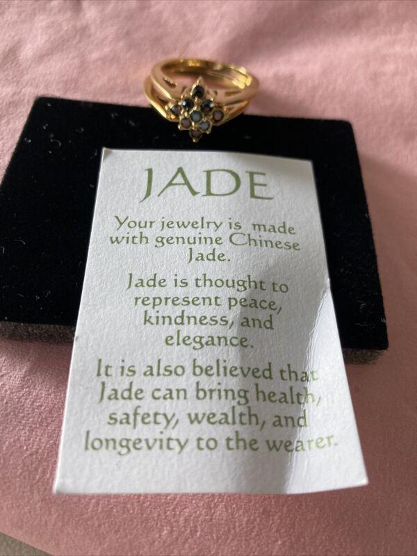 Avon Genuine Jade & Hermite Crystal Reversible Ring~Size 8~ NIB