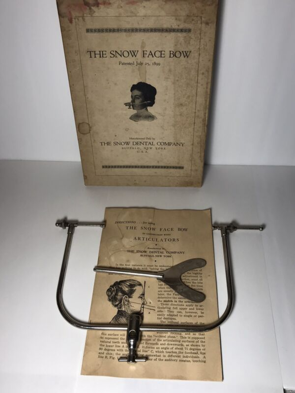 Antique Snow Face Bow +Box And Instructions 1899 Patent Date Dentist Articulator