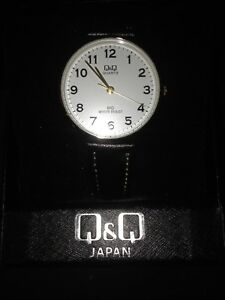 Q&Q womens watch leather strap water resistant brand new in box