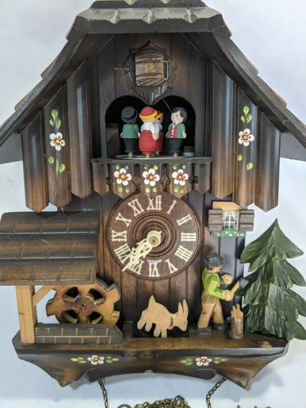 GERMAN BLACK FOREST HIGHLY ANIMATED 1 DAY MUSICAL CUCKOO CLOCK