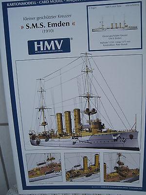 S.M.S. Emden 1910 Kreuzer Kartonbausatz *NEU* Bastelbogen Kartonmodell HMV 3050