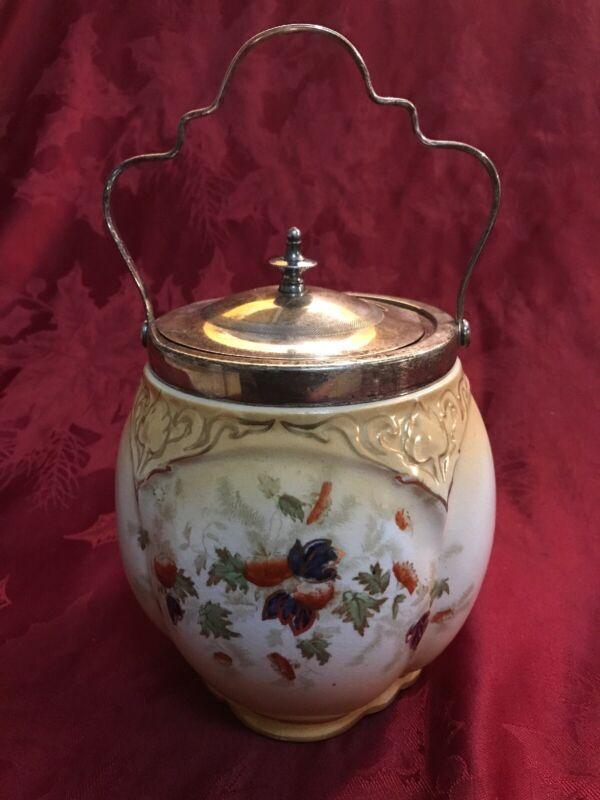 S.W. Dean Burslem Porcelain Biscuit Jar Metal Handle Lid