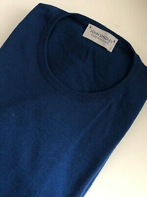 John Smedley Merino Wool pullover in Magnetic Cobalt (Size L), Made in England