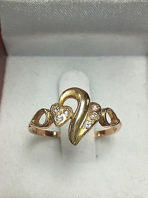 18k Rose Gold Free-Form Heart Ring With Diamonds