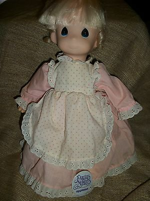 Precious Moments plush vinyl doll Blond pink dress w/ Stand Applause 1991