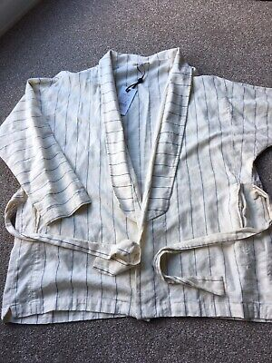 INTROPIA IVORY LINEN JACKET. OVERSIZED 12. New With Tags.
