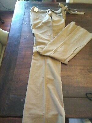 Old Navy Womens Khaki Pants New Tags Belt Cotton Pockets Flare Size 8 Belted Flared Pants
