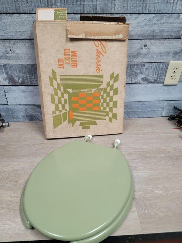 NEW VINTAGE AVOCADO GREEN TOILET SEAT