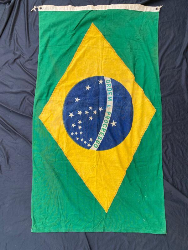 Antique 1940s Brazilian National Flag 60x34 inch Ordem E Progresso