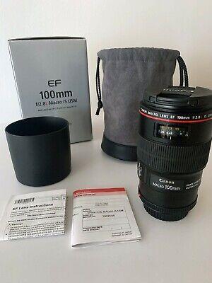 Canon EF 100mm f/2.8L IS USM Macro Camera Lens (3554B002) Used, free shipping
