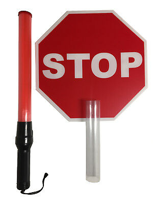 Police Grade 6 Led Traffic Control Wand With Stop Sign Attachment Event Lights