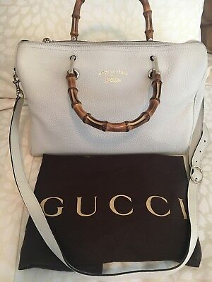 aae2de84b466ef Gucci White Bamboo Shopper Leather Boston Bag with Bamboo Handles
