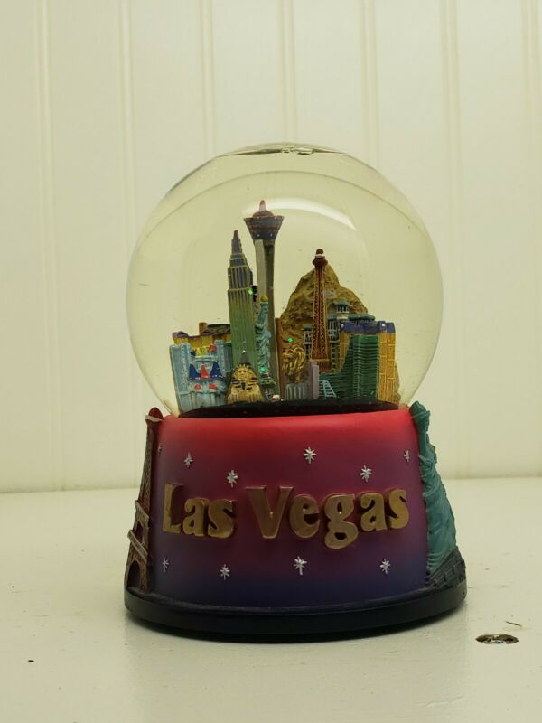 Las Vegas Musical Snow Globe Luck Be A Lady Casino Collectible Snowdome FreeShip