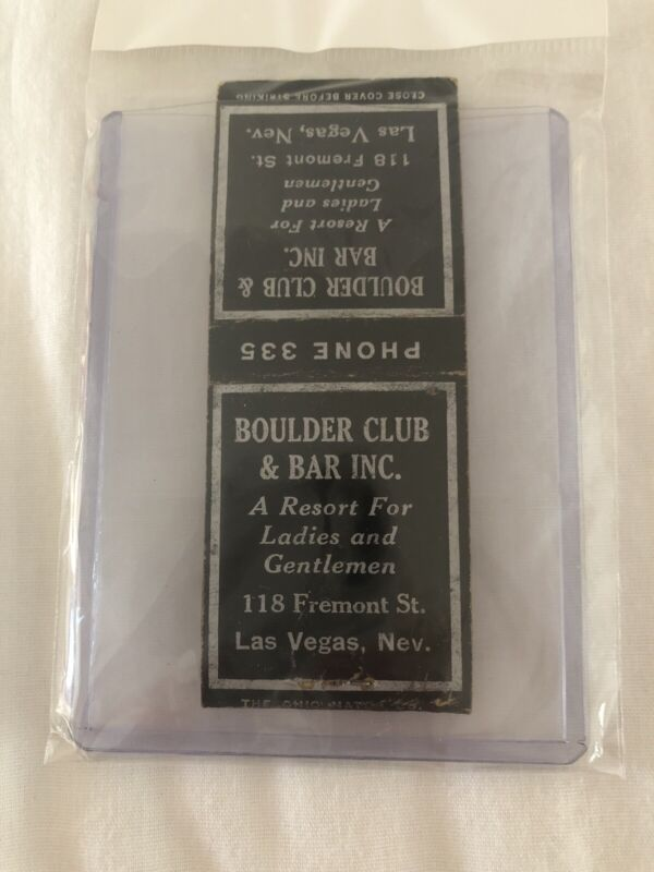 Rare Vintage Las Vegas Matchbook Boulder Club And Bar Unstruck