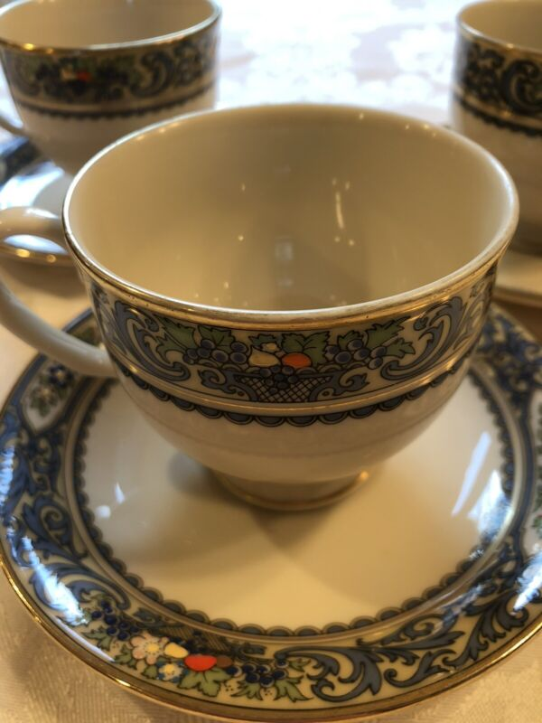 LENOX  AUTUMN PRESIDENTIAL COLLECTION 3 SETS  FOOTED CUPS & SAUCERS