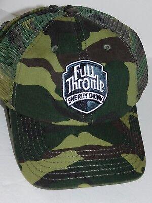 Camo Full Back Cap (Full Throttle Hat Energy Drink Hat Green Camo Camouflage Cap Mesh Back )