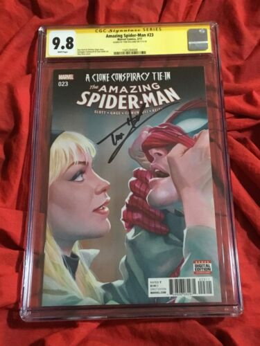 CGC SS 9.8~AMAZING SPIDER-MAN #23~ALEX ROSS GWEN STACY~SIGNED BY TOM HOLLAND~