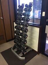3 - 14kg Chrome / Rubber Dumbbell Set w/Stand Kidman Park Charles Sturt Area Preview