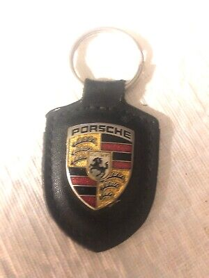 Porsche key chain leather With Enameled Shield. 2-1/2""