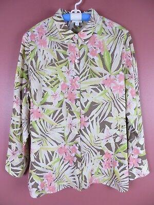 TB04547- NEW J. JILL Womens 100% Linen Button Front Blouse Multi-Color Floral L