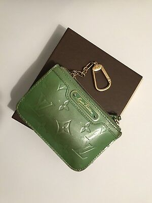 LOUIS VUITTON Monogram Vernis Key Coin Pouch Leather Logo Green