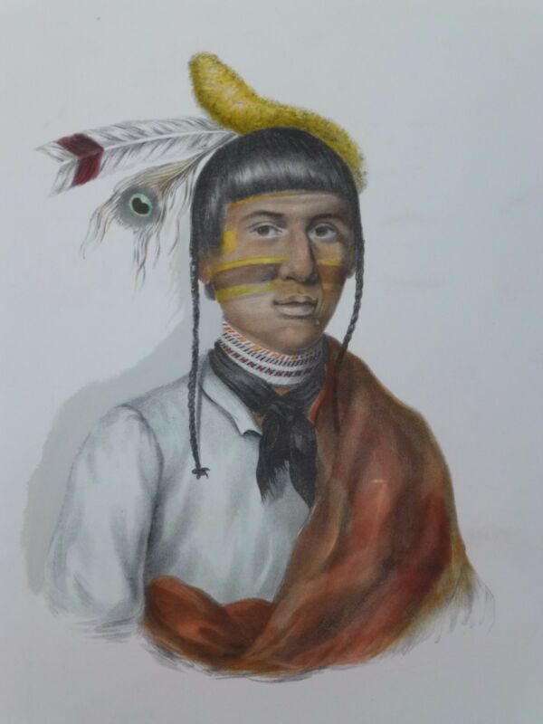NO-TIN  Chippewa Chief. McKenney & Hall Hand-colored Lithograph 1800