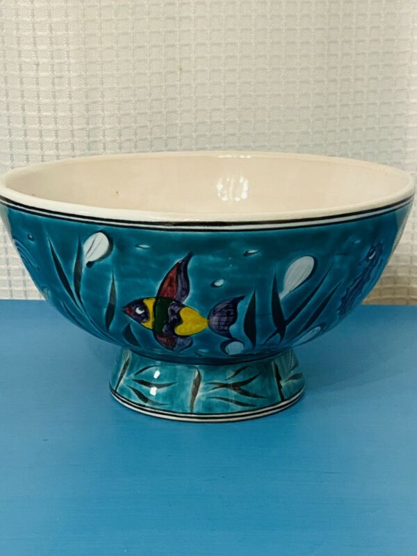 Vintage Ikaros Pottery Hand Made In Greece Turquoise Fish Bowl
