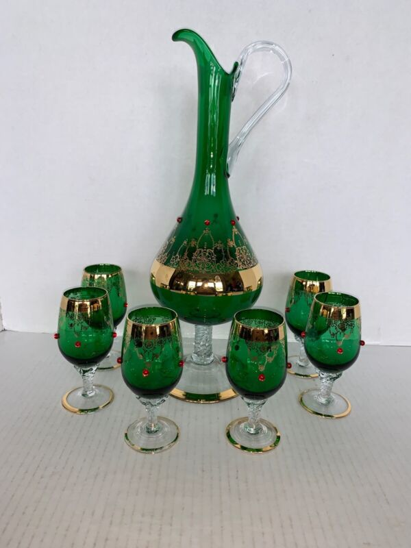 Vintage Green/ Gold Bohemian Glass Wine Decanter & 6 Cordial Glasses