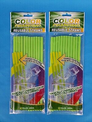 Color Changing Straws (Lot of 2 Color Changing Reusable Straws (12 Pack) Green to Yellow)