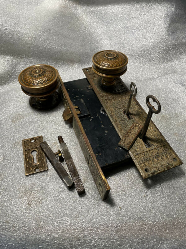 Antique P&F Corbin  Entry Mortise Lock & Door Knobs, Backplate,Skeleton Key