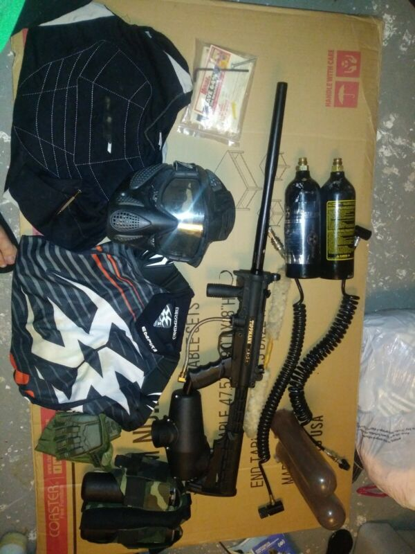 Tippmann a5 plus canisters empire helmet mask shirt see pics