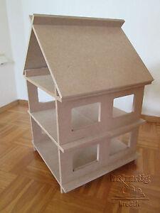Holz (MDF) Puppenhaus, Puppenstube, M.1:18/1:20, Steck - Bausatz, mit Dach, neu
