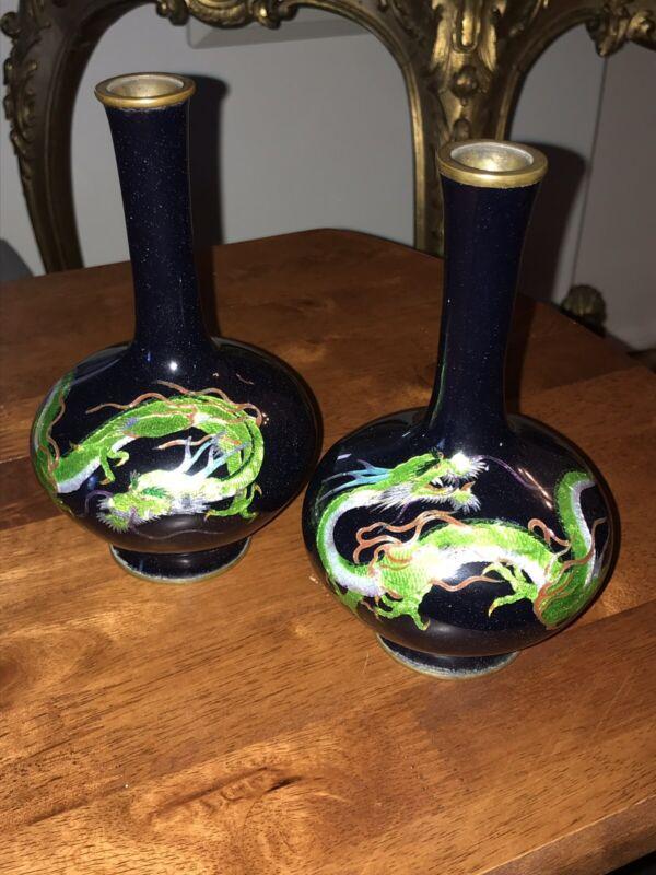 Pr Meiji Japanese Cloisonne Ginbari Enamel Coiled Dragon Vases