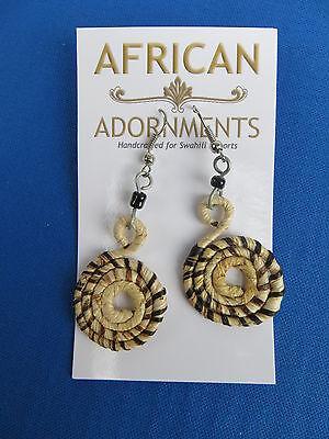 African Ethnic Jewelry FAIR TRADE BANANA FIBER EARRINGS KENYA B   (Fair Trade Banana)
