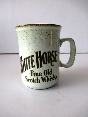 "Vintage White Horse Fine Old Scotch Whisky Coffee Mugs Dunoon Ceramics""F2"