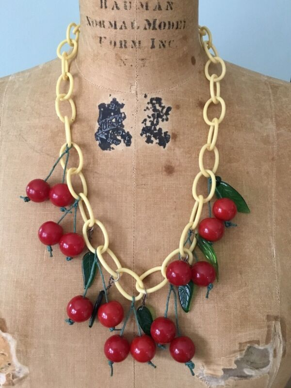 Vintage Bakelite Cherries Necklace Glass Leaves Celluloid Chain Extra Cherries
