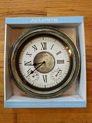 Acurite 14 Indoor/Outdoor Antique Silver Analog Clock w/ Thermometer & Humidity