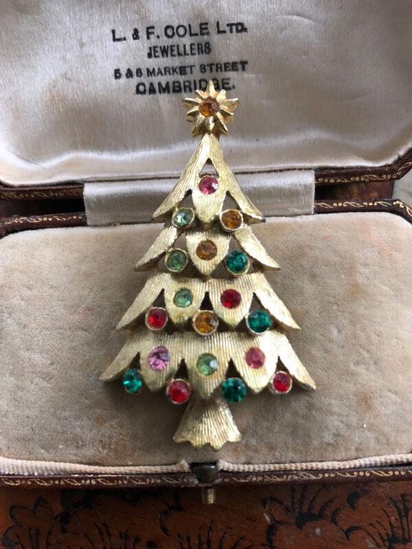 Vintage Gold Tone Multicoloured Stone Christmas Tree Brooch