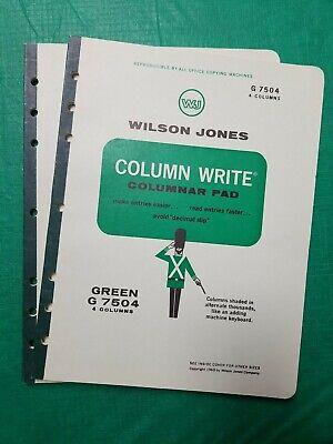 Vintage 1968 Set Of 2 Wilson Jones G7504 Columnar Pad 4 Columns Green Tint