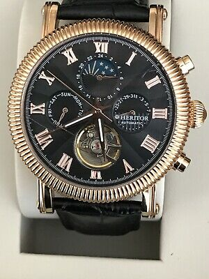 Heritor Winston Automatic Rose Gold Black Dial Black Leather Men's Watch HR5206. Winston Black Leather
