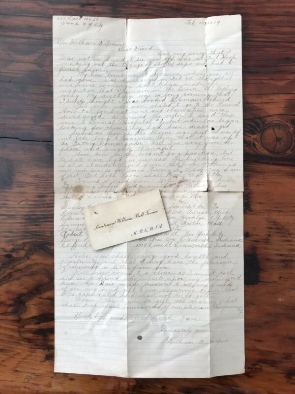 WWI Letter To MC 57th CAC Dr William B Trower From Fellow In Unit France