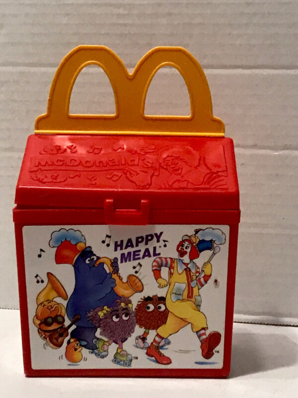 1989 Fisher Price McDonalds Happy Meal Lunch Box Hamburger Fries and Pie Whistle