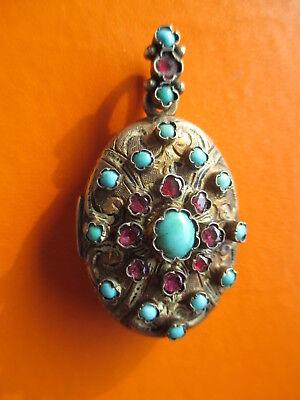 Siebenbürger Schmuck Silber Medaillon Anhänger  um 1900 Türkise + rote Steine