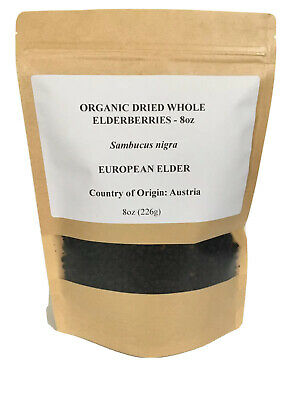 Organic Elderberries Whole Dried Sambucus Nigra 8oz