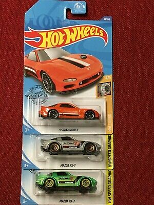 Mazda RX-7! Koni 2019 Hot Wheels Green and Silver and Orange Lot of 3! HW Speed