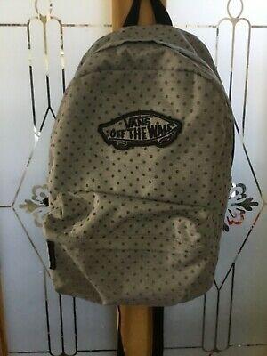 Vans Ladies Grey Pokka Dot Backpack with Adjustable Straps