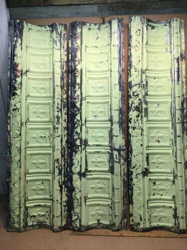 "3pc Lot 48"" x 13.5"" Crown Molding Antique Ceiling Tin Vintage Reclaim Salvage"